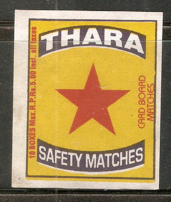 India THARA - STAR Match Box Packet Label Large Size # 3626 - Phil India Stamps