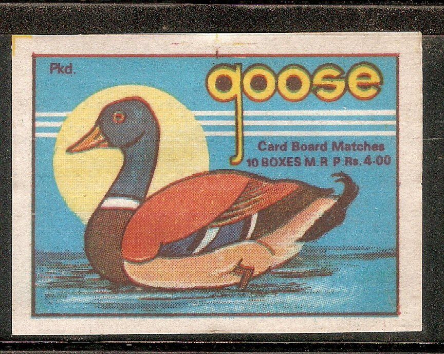India Goose Water Bird Duck Match Box Packet Label Large Size # 3633 - Phil India Stamps