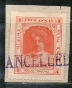 India Fiscal Wankaner State 4 As Court fee Stamp Type 20 KM 203 Revenue # 393B