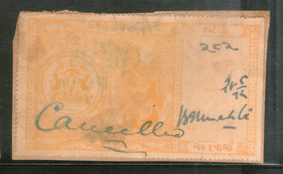 India Fiscal Dhrangadhra State 1 Re. Court Fee Revenue Stamp Type 11 KM 116 # 3