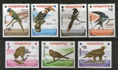 Cambodia 1983 Birds of Prey Eagle Vulture Parrot Wildlife Sc 427-33 MNH # 434