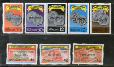 St. Vincent 1987-89 Eastern Caribbean Currencies Coins & Bank Note on Stamp