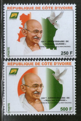 Ivory Coast 2019 Mahatma Gandhi of India 150th Birth Anniversary Flag Dove 2v MNH # 5362A