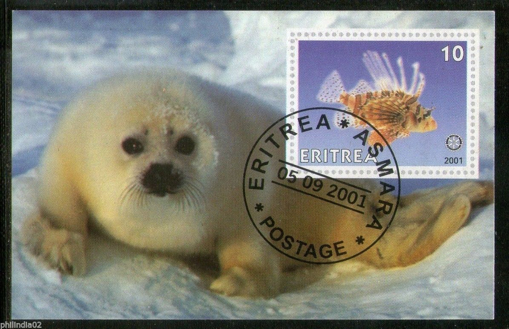 Eritrea 2001 Seal Fish Marine Life & Mammals Animals M/s Cancelled # 054 - Phil India Stamps