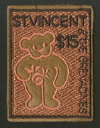 St. Vincent 2003 Teddy Bear Toy Sc 3095 Embroidered Odd Shape Exotic Stamp MNH # 5538