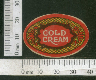 India 1950's Cold Cream French Print Vintage Perfume Label Multi-Colour # 562
