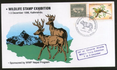 Nepal 1996 WWF Wildlife Stamp Exhibition Deer Bird Animal Mountain Card # 5633