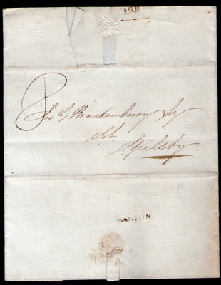 Great Britain 1823 Pre Stamp Folded Letter Barton to Spilsby RARE # 5639