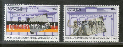 St. Vincent Grenadines 1991 200th Anni. of Brandenburg Gate Germany Flag Specimen Sc 792-93 MNH # 572