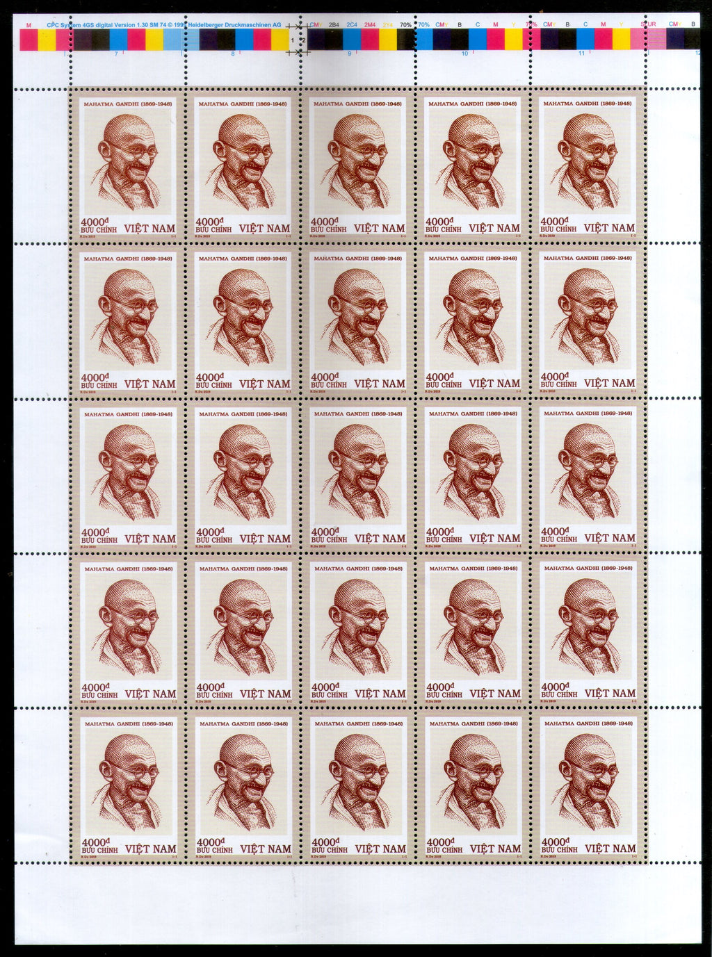 Vietnam 2019 Mahatma Gandhi of India 150th Birth Anniversary Full Sheet of 25 Stamps MNH # 5777C
