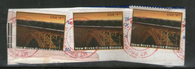 USA 2011 New River Gorge Bridge Architecture Sc 4511 x3 on piece Used # 596