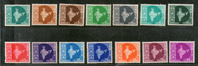 India 1957 3rd Definitive Series Map WMK-Star Complete Set of 14v Phila-D38-51 MNH # 5995