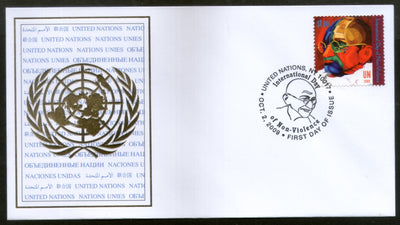 United Nations 2009 Mahatma Gandhi of India Non-Violence 1v FDC # 6066