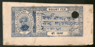 India Fiscal Indergarh State 2As Court Fee ERROR Dho in 2 Hindi Type 5 KM 56A # 639
