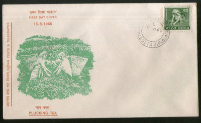 India 1965 Definitives Series 15p Plucking Tea Plant FDC # 6417