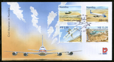 Namibia 2001 Civil Aviation Aeroplane Helicopter Transport 4v FDC # 6429