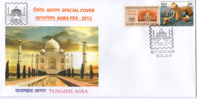 India 2012 Taj Mahal AGRAPEX-12 Architecture Terracota EMBOSSED Special Cover # 6505