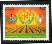 Pakistan 1992 Int'al Conference on Nutrition FAO Food Sc 777 Agriculture MNH # 0065 - Phil India Stamps