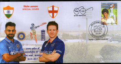 India 2017 England 1st T20 Cricket Match Virat Kohli Eion Morgan Special Cover # 6630