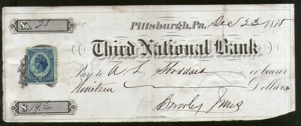 United States 1875 Third National Bank Pittsburgh Used Check with Revenue Stamp # 6711K