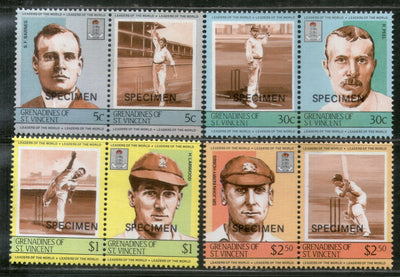 St. Vincent Grenadines 1984 Cricket Players Sport SPECIMEN SG 331-38 MNH # 682