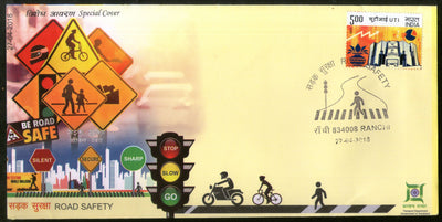 India 2018 Road Safety Zebra Crossing Automobile Transport Special Cover # 6900