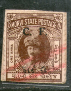 India Fiscal Morvi State 1An King Court Fee Revenue Type 5 KM 51 Stamp # 690