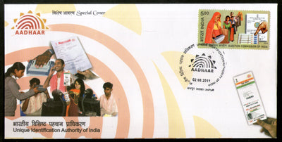India 2011 Unique Identification Authority AADHAAR Card Special Cover # 7227
