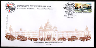 India 2018 Vintage Classic Car Club World Automobile Day Transport Special Cover # 7389