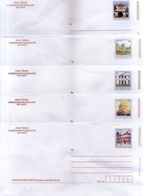 India 2017 5 Diff. GPO Delhi Patna Mumbai Shimla Commemrative Postal Envelopes # 7468