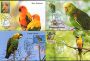 India 2016 Exotic Birds Parrots Blue Throated Macaw Wildlife Set of 6 Max Cards # 7553 - Phil India Stamps