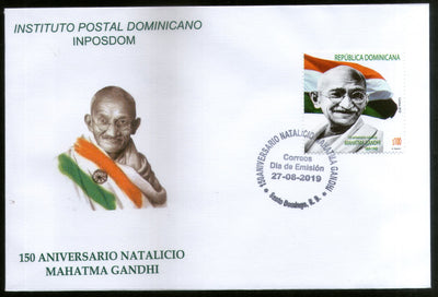 Dominican Rep. 2019 Mahatma Gandhi of India 150th Birth Anniversary Flag 1v FDC # 7807