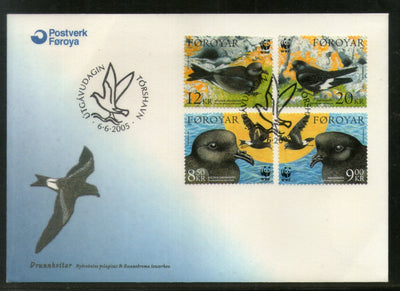Faroe Islands 2005 WWF Petrels Birds Wildlife Animal Sc 458-61 FDC # 7925