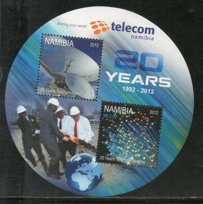 Namibia 2012 Telecom Satellite Dishes Odd Round Shaped M/s Sc 1247 MNH # 8040