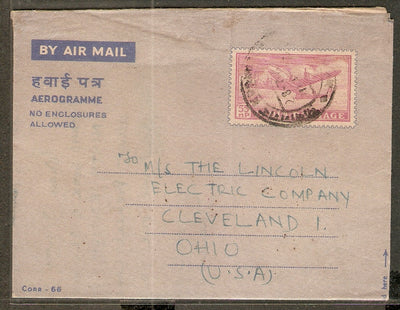 India 1963's 55p Aerogramme Air Letter Jain-ALS39 to USA Good Used RARE # 8212