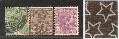 India 3 Diff KG V ½A 1A & 1A3p ERROR WMK - Multi Star Inverted Used as Scan # 82 - Phil India Stamps