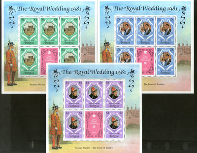 Antigua 1981 Royal Wedding Princess Diana & Charles Sc 523-25 Sheetlet MNH # 9007