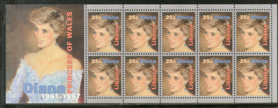 Liberia 2000 Princess Diana sheetlet of 10 stamps MNH # 9023