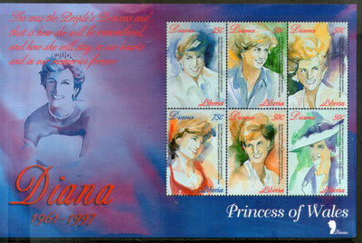 Liberia 1998 Lady Diana Commemoration Sheetlet of 6 MNH # 9081