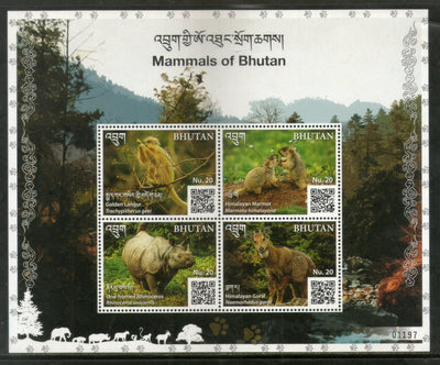 Bhutan 2019 Red Panda Wildlife Animals Species Langur Rihno Sheetlet MNH # 9089