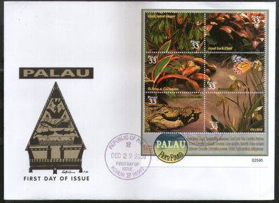 Palau 2000 Butterfly Crocodile Wildlife Animal Fauna Sc 602 Sheetlet FDC # 9422
