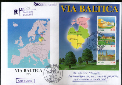 Estonia 1995 Joints Issue Baltic Highway Project Map Tourism Sc 289 M/s FDC # 9504
