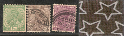 India 3 Diff KG V ½A 1A & 1A3p ERROR WMK - Multi Star Inverted Used as Scan # 950