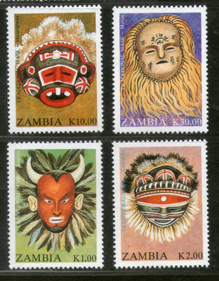 Zambia 1992 Traditional Masks Costume Art Sc 570-73 MNH # 986