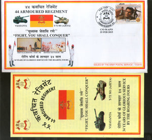 India 2015 Armoured Regiment Coat of Arms Military APO Cover # 198 - Phil India Stamps