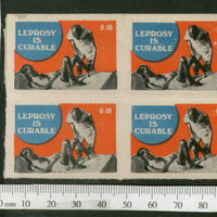 India Mahatma Gandhi Theme 10p Leprosy is Curable English Health Label BLK/4 MINT # B1021b - Phil India Stamps