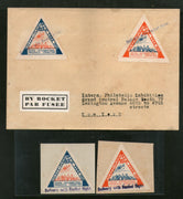 USA 1936 50c+75c Rocket Flight New York 3rd Int´al Philatelic Exhi. Triangular Vignette + Cover RARE