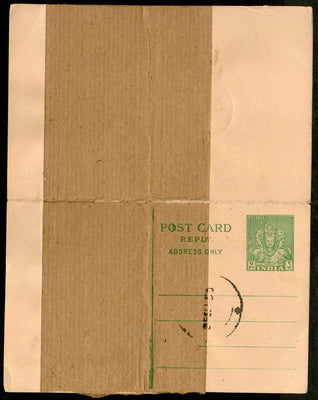 India 1949 9p+9p Trimurti Reply Post Card ERROR PRINTED ON PAPER JOINTS Variety