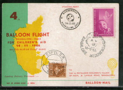India 1966 Germany 4th Pestalozzi Balloon Flight Banglore Carried Card # 1457A