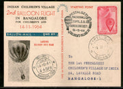 India 1964 Germany 2nd Pestalozzi Balloon Flight Banglore Carried Card # 1457D